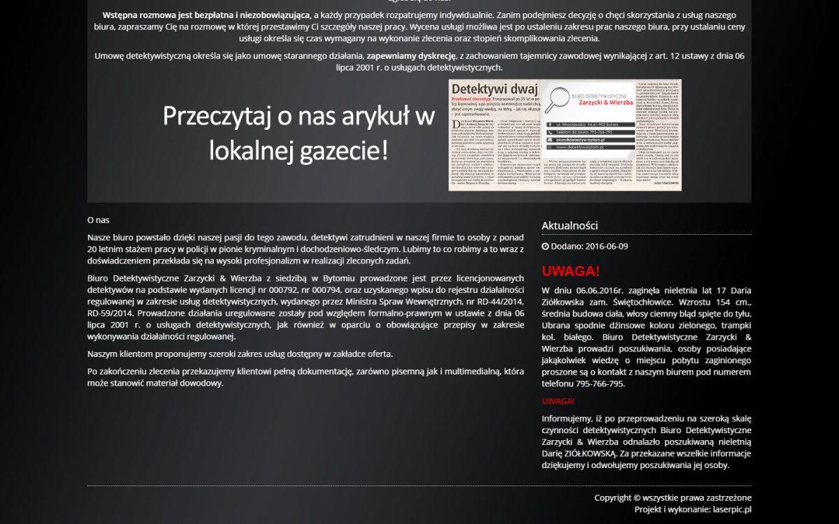 Grafika realizacji - Biuro detektywistyczne Zarzycki & Wierzba