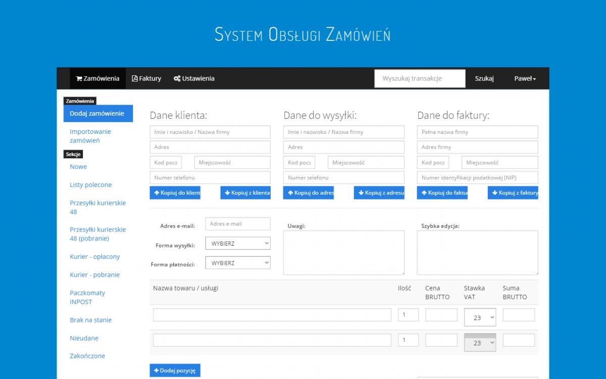 Grafika realizacji - System obsługi zamówień